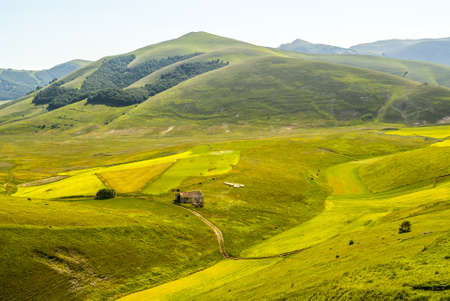 Castelluccio di Norcia (Perugia, Umbria, Italy) - Landscape in the Monti Sibillini Park at summer Stock Photo - 17999152