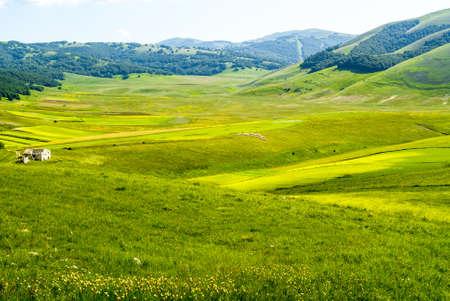 Castelluccio di Norcia (Perugia, Umbria, Italy) - Landscape in the Monti Sibillini Park at summer Stock Photo - 17999156