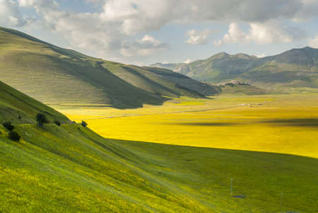 Castelluccio di Norcia (Perugia, Umbria, Italy) - Landscape in the Monti Sibillini Park at summer Stock Photo - 18058738