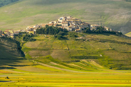Castelluccio di Norcia (Perugia, Umbria, Italy) - Landscape in the Monti Sibillini Park at summer Stock Photo - 18058674