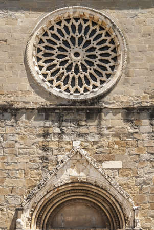 rieti: Amatrice (Rieti, Lazio, Italy) - Rose window of the SantAgostino medieval church