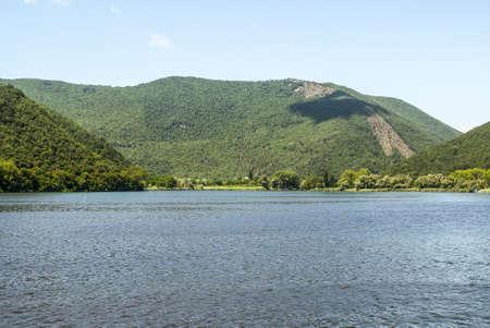 terni day: Piediluco Lake (Terni, Umbria, Italy) in a morning summer