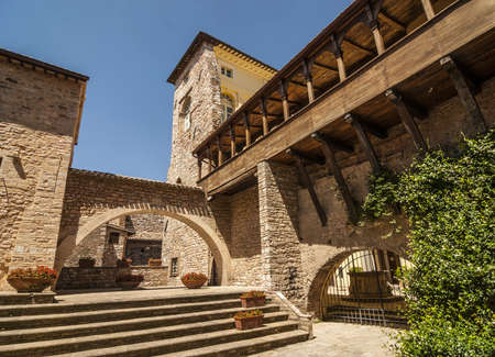 spello: Spello (Perugia, Umbria, Italy) - Courtyard of an ancient palace with gallery Editorial