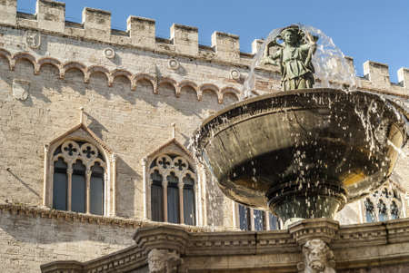 monumental: Perugia (Umbria, Italy) - Famous monumental fountain and other historic buildings Stock Photo