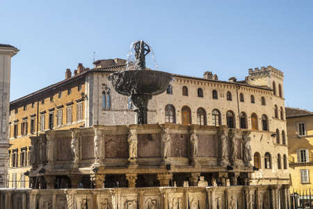 monumental: Perugia (Umbria, Italy) - Famous monumental fountain and other historic buildings Editorial