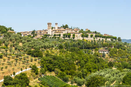 Corciano (Perugia, Umbria, Italy) - Panoramic view of the ancient town and surrounding countryside