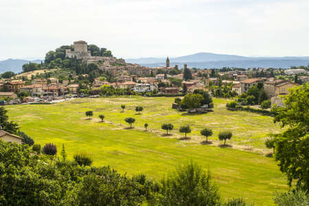 Panoramic view of Sarteano (Siena, Tuscany, Italy) in a morning summer 写真素材