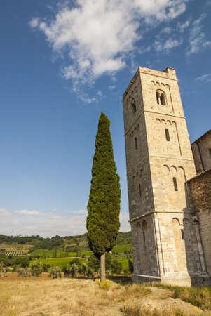 sant'antimo: The church of SantAntimo (Siena, Tuscany, Italy) at summer