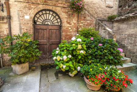 Buonconvento (Siena, Tuscany, Italy) - Ancient typical house with wooden house, stairs and potted plants and flowers Stock Photo - 18985653
