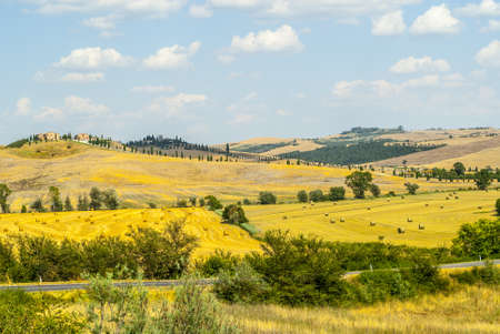 characteristic: Crete senesi, characteristic landscape in Val dOrcia (Siena, Tuscany, Italy). The road to Asciano