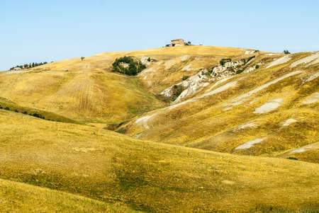 Crete senesi, characteristic landscape in Val d'Orcia (Siena, Tuscany, Italy) along the road from Asciano to Torre a Castello Stock Photo - 19141395