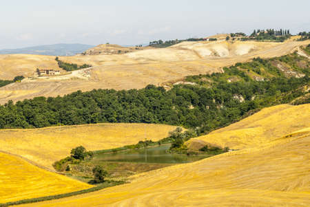 Crete senesi, characteristic landscape in Val d'Orcia (Siena, Tuscany, Italy) along the road from Asciano to Torre a Castello Stock Photo - 19141394
