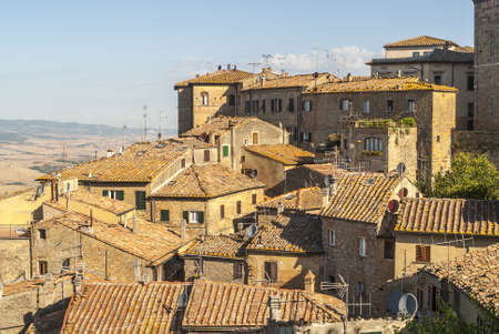 volterra: View of Volterra (Pisa, Tuscany, Italy) and landscape at summer
