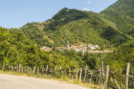 appennino: Passo del Cirone (Tuscany - Emilia, Parma, Italy) - Forest and villages, mountain landscape at summer