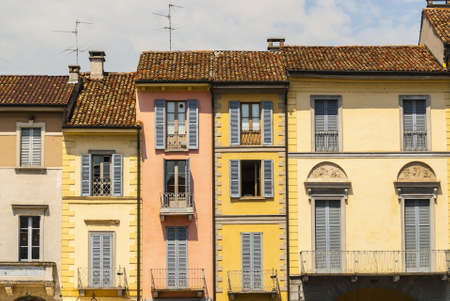 Lodi (Lombardy, Italy) - Ancient colorful houses in the Cathedral Square