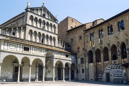Pistoia  Tuscany, Italy , facade of the medieval cathedral Stock Photo