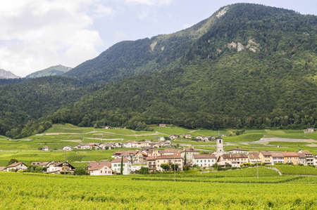 valais: Small village in Valais (Switzerland) at summer