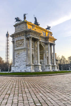 pace: Milan (Lombardy, Italy): Arco della Pace and tower of Parco Sempione