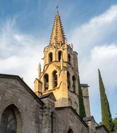 vaucluse: Avignon (Vaucluse, Provence-Alpes-Cote dAzur, France), historic belfry and cypress Stock Photo