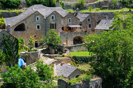gorges: Gorges du Tarn (Lozere, Linguedoc-Roussillon, France), famous canyon at summer: historic village Editorial