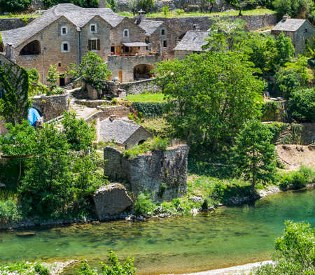 gorges: Gorges du Tarn (Lozere, Linguedoc-Roussillon, France), famous canyon at summer: historic village Stock Photo