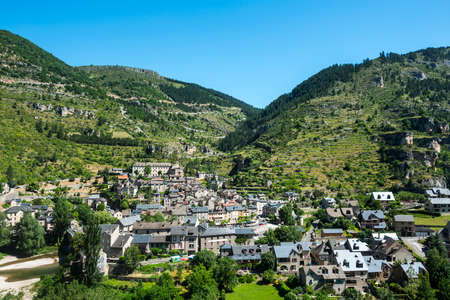 Sainte-Enimie, historic town on the Gorges du Tarn (Lozere, Languedoc-Roussillon, France) at summer