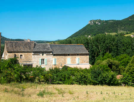 millau: Country house in the Tarn Valley near Millau (Aveyron, Midi-Pyrenees, France) at summer