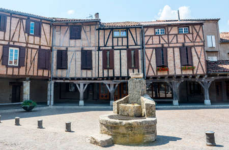 Lautrec (Tarn, Midi-Pyrenees, France), medieval village with half-timbered buildings photo