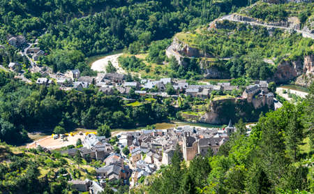 gorges: Sainte-Enimie, historic town on the Gorges du Tarn (Lozere, Languedoc-Roussillon, France) at summer