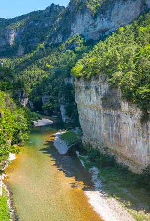 gorges: Gorges du Tarn (Lozere, Linguedoc-Roussillon, France), famous canyon at summer. Stock Photo