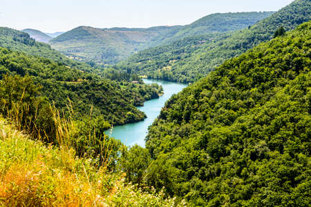 The valley of the Tarn river between Millau and Albi (Aveyron, Midi-Pyrenees, France) at summer Stock Photo