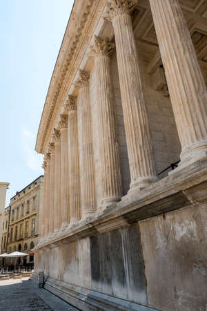 1st century: Nimes (Gard, Languedoc-Roussillon, France), historic palaces near the Maison Carree, Roman temple built in the 1st century