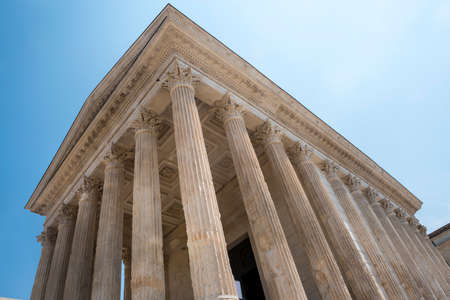 1st century: Nimes (Gard, Languedoc-Roussillon, France), Maison Carree, Roman temple built in the 1st century Stock Photo