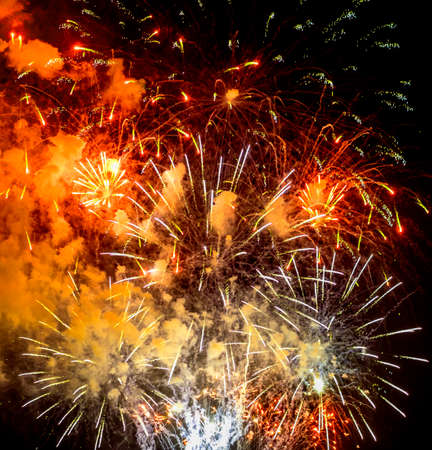 14th: Toulon (Var, Provence-Alpes-Cote dAzur, France): traditional fireworks at july 14th