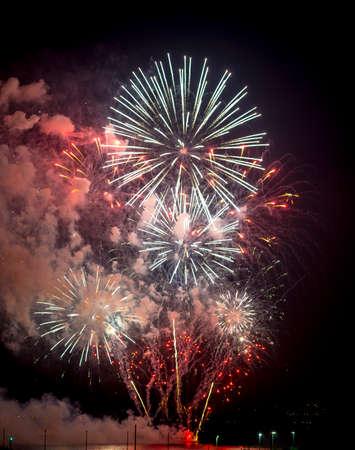 var: Toulon (Var, Provence-Alpes-Cote dAzur, France): traditional fireworks at july 14th