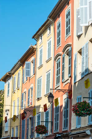 var: Draguignan (Var, Provence-Alpes-Cote dAzur, France): colorful houses Editorial