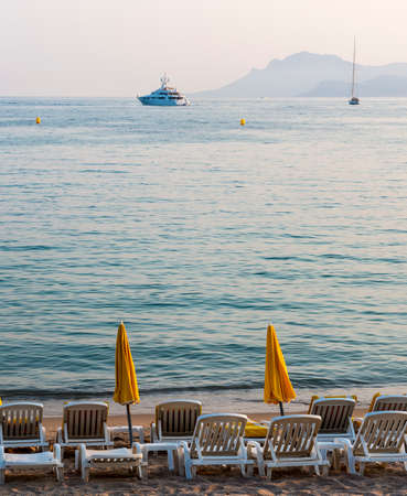 Cannes (Alpes-Maritimes, Provence-Alpes-Cote dAzur, France): the beach at evening photo