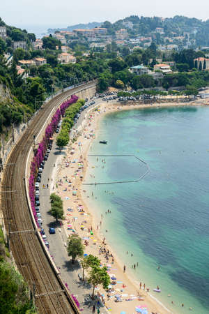 dazur: Cap dAil (Alpes-Maritimes, Provence-Alpes-Cote dAzur, France): the beach at summer Editorial