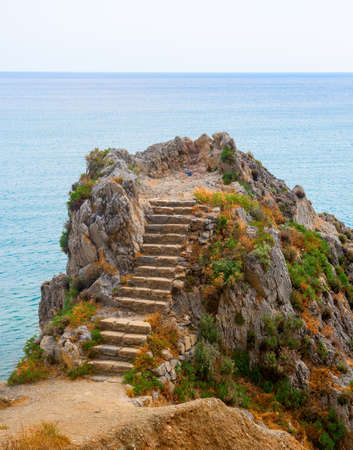 finale: Coast of Liguria near Finale Ligure (Italy): steps in the rock