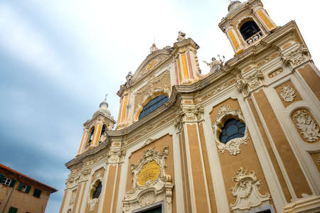 finale: Finale Ligure (Savona, Liguria, Italy), facade of historic church in baroque style