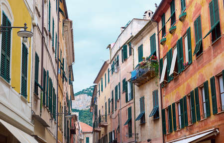 Finale Ligure (Savona, Liguria, Italy), old typical street with colorful houses