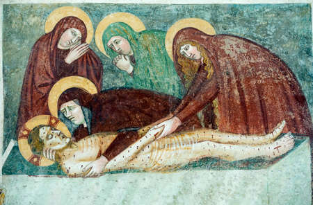 deposition: Agliate Brianza (Monza, Lombardy, Italy): interior of the medieval baptistery, in Romanesque style, built in the 10th century: Deposition, painting made by an anonymous medieval painter