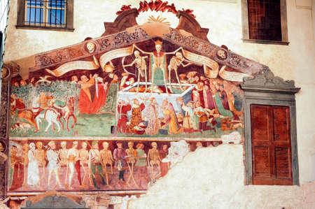 figurative: Clusone (Bergamo, Lombardy, Italy) - Oratorio dei Disciplini: Danza Macabra, Dance of the Death, ancient fresco Editorial