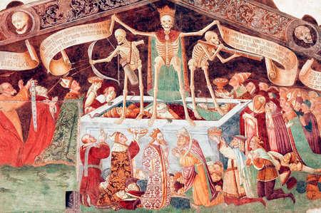allegoric: Clusone (Bergamo, Lombardy, Italy) - Oratorio dei Disciplini: Danza Macabra, Dance of the Death, ancient fresco Editorial