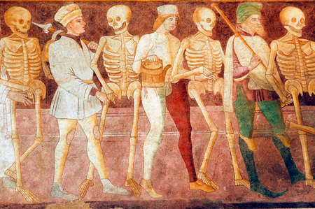 Clusone (Bergamo, Lombardy, Italy) - Oratorio dei Disciplini: Danza Macabra, Dance of the Death, ancient fresco Editorial