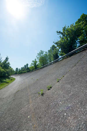speedway park: Old abandoned racetrack of Monza (Lombardy, Italy), a curve