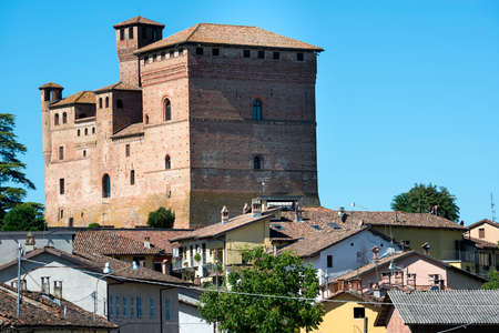 cavour: Grinzane Cavour (Cuneo, Piedmont, Italy), old town in the Langhe region, with a medieval castle