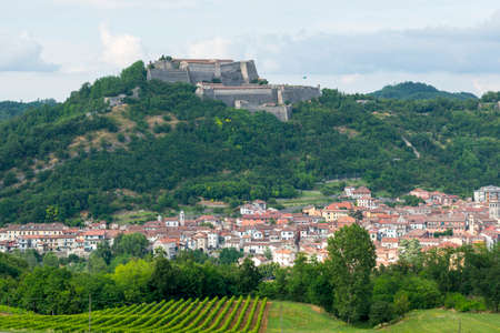 Gavi (Alessandria, Piedmont, Italy), panoramic view with the historic fortress Stock Photo
