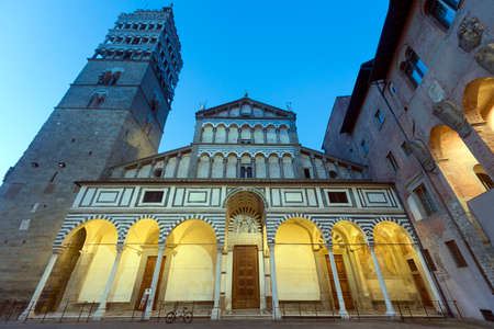 Pistoia (Tuscany, Italy): facade of the medieval cathedral at evening