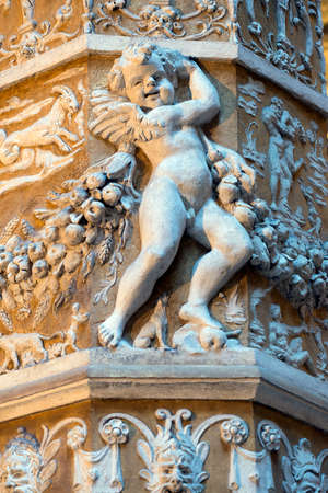 putto: Florence (Firenze, Tuscany, Italy): the medieval building known as Palazzo Vecchio: putto Stock Photo